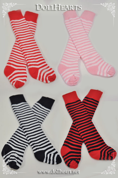 DH000020 Free size Striped Knee High Socks SET