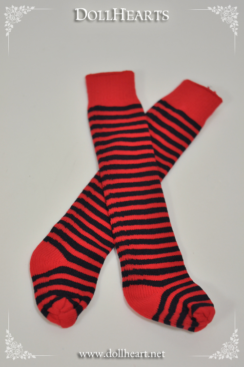 LA000077 Free size Black and Red Knee High Socks