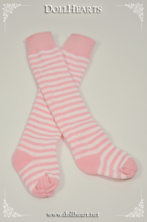 LA000080 Free size Pink and White Knee High Socks
