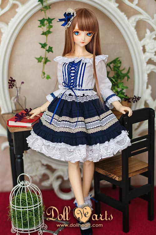 [Pre-order] LD000740 Lace Trim Dress Blue Ver